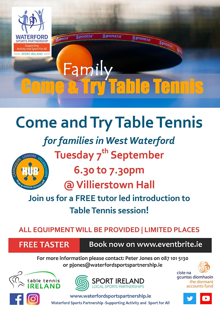 Come & Try Table Tennis (for families with children aged 6 - 14) image