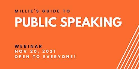 WEBINAR   Millie's Guide to Public Speaking tickets