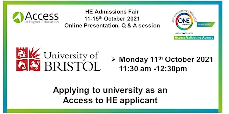 One Awards HE Admissions Fair: Presentation and Q&A - University of Bristol tickets