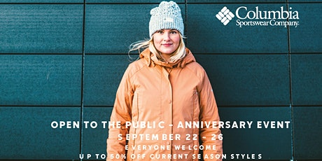 COLUMBIA EMPLOYEE STORE - OPEN TO THE PUBLIC - ANNIVERSARY EVENT tickets
