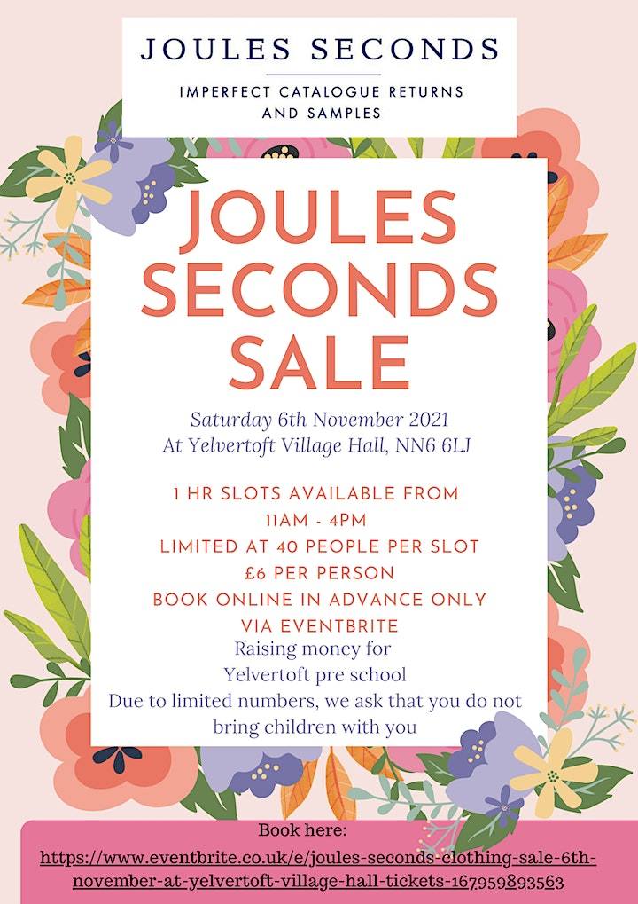 Joules Seconds Clothing sale 6th November at Yelvertoft Village Hall image