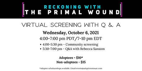 Reckoning with The Primal Wound-Screening & discussion with Rebecca Sansom tickets
