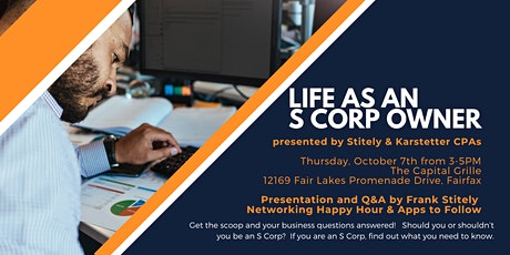 """Seminar & Professional Networking: """"Life as an S Corp Owner"""" by S&K CPAs tickets"""