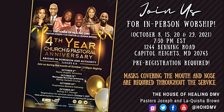 HOHDMV4th Church Anniversary In-Person Service (October 29, 2021) tickets
