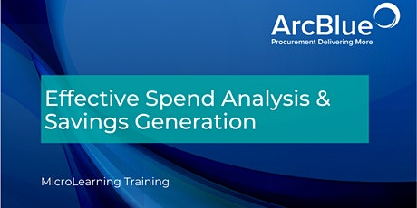 Effective Spend Analysis and Savings Generation Training tickets