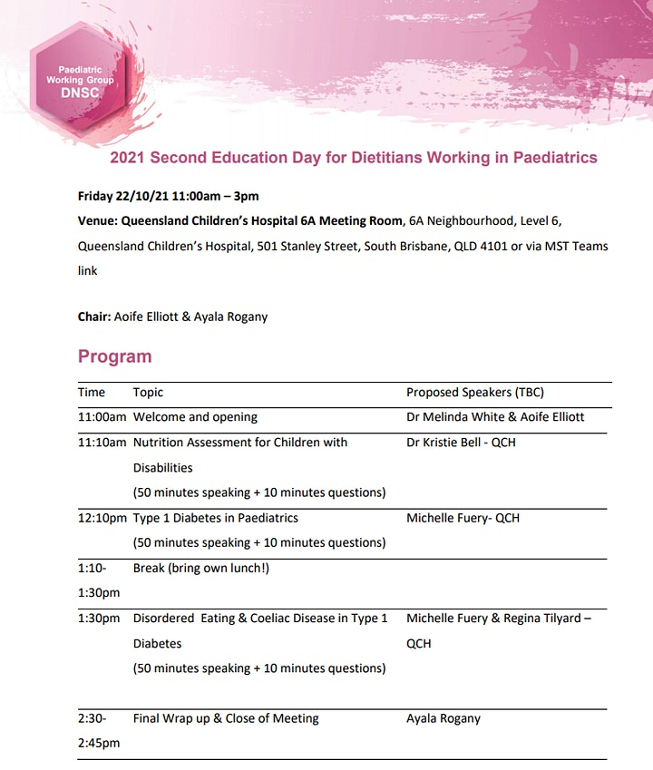 2021 Second Education Day for Dietitians Working in Paediatrics image