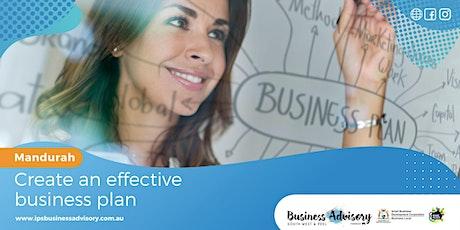 Create an effective business plan tickets