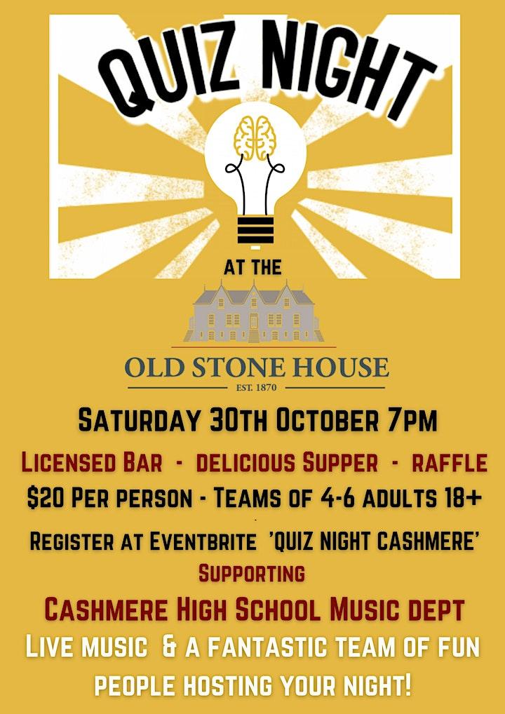 Quiz Night: Cashmere High Music Tour Fundraiser image