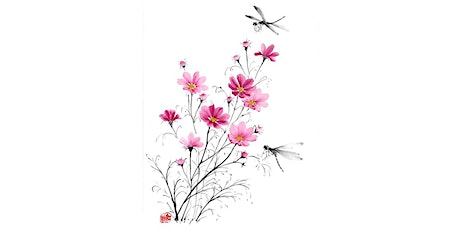"""Sumi-e Ink Painting workshop """"Coloured Cosmos and Dragonflies"""" with KOSHU tickets"""