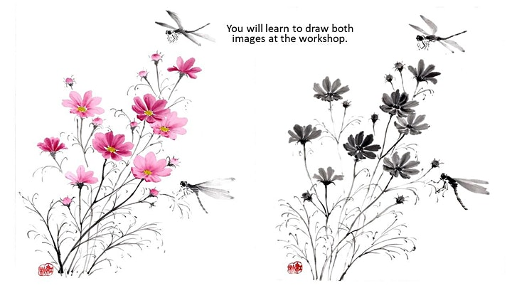 """Sumi-e Ink Painting workshop """"Coloured Cosmos and Dragonflies"""" with KOSHU image"""
