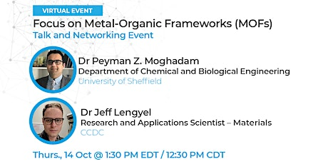 CCDC Focus on Metal-Organic Frameworks (MOFs) Virtual Talk and Networking tickets
