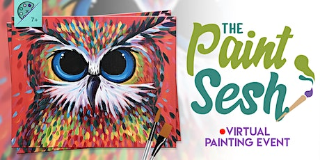 """Online Painting Class – """"Owl Be There"""" (Virtual Paint Night at Home) tickets"""
