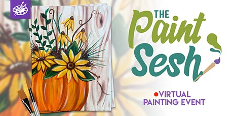 """Online Painting Class – """"Pumpkin Blooms"""" (Virtual Paint Night at Home) tickets"""