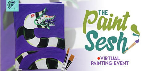 """Online Painting Class – """"Beetle Juice"""" (Virtual Paint Night at Home) tickets"""