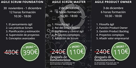 Cursos Agile Scrum Foundation - Scrum Master - Product Owner - Málaga entradas