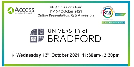 HE Admissions Fair - Presentation Q&A session - University of Bradford tickets