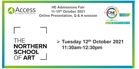 HE Admissions Fair - Presentation Q&A session - The Northern School of Art tickets