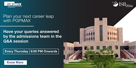 ISB PGPMAX : Q&A with Admissions Team tickets