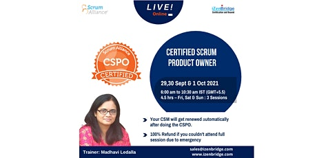 Certified Scrum Product Owner® (CSPO®)  29,30 Sept & 1 Oct 2021 tickets