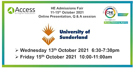 HE Admissions Fair: Presentation and Q&A by University of Sunderland tickets