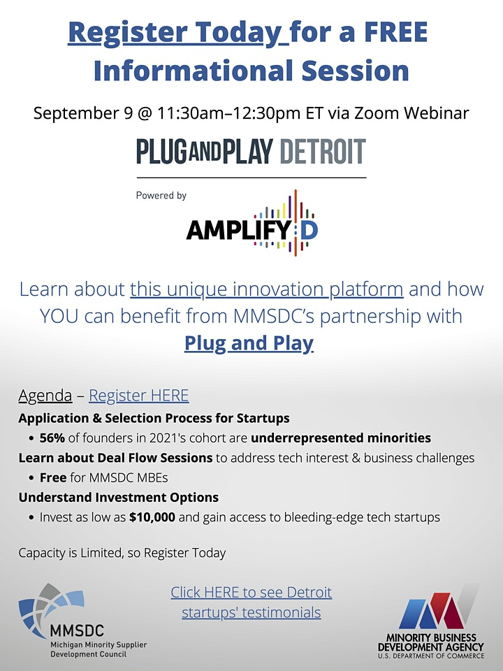Plug and Play Detroit, Powered by AmplifyD Informational Session Webinar image