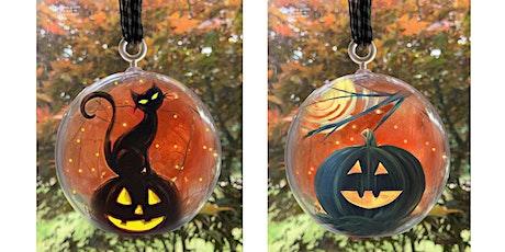 Halloween Pumpkin Black Cat Decor Globe Lights Paint & Sip Art Class Akron tickets