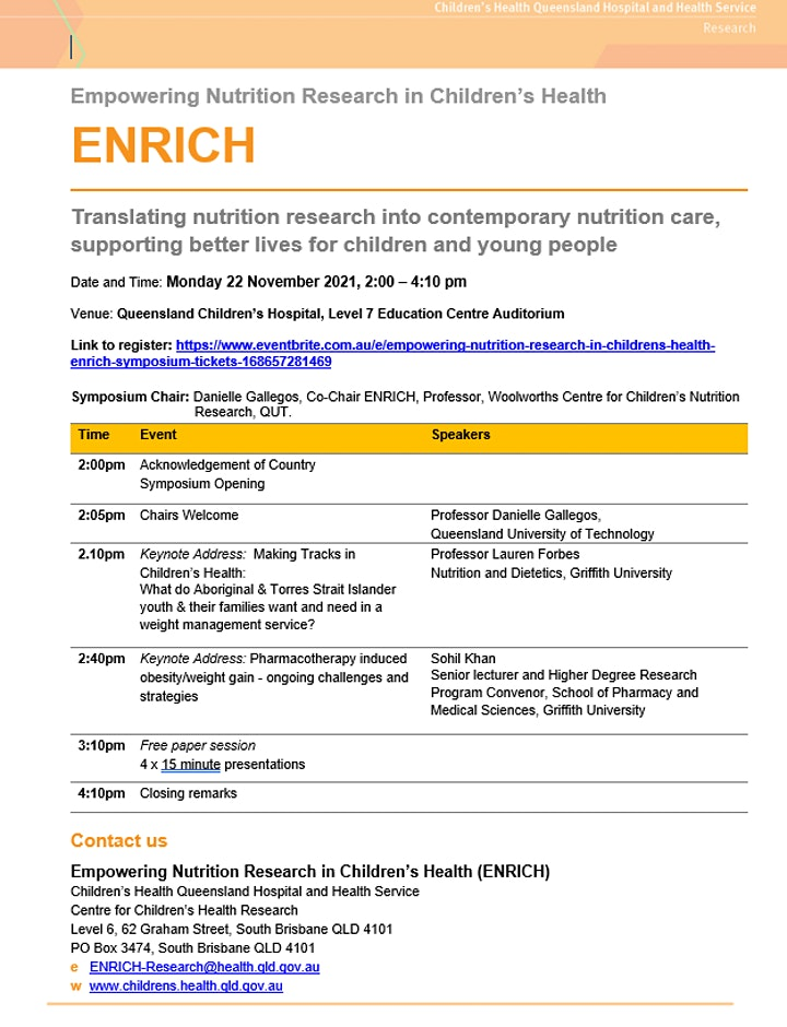 Empowering Nutrition Research in Children's Health (ENRICH) Symposium image
