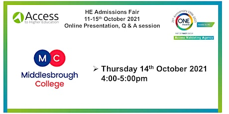HE Admissions Fair - Presentation Q&A session - Middlesbrough College tickets