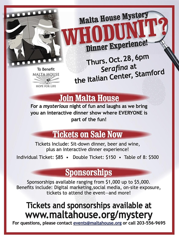 """Malta House """"WHODUNIT"""" Mystery Dinner Experience image"""