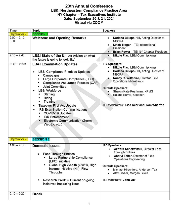 20th Annual TEI-Sponsored LB&I Conf. Session 2: Domestic & Appeals Updates image