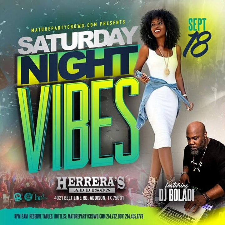 SATURDAY NIGHT VIBES @ HERRERA'S ADDISON w/DJ BOLADI image