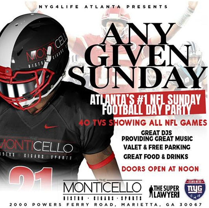 ANY GIVEN SUNDAYS - NFL FOOTBALL SUNDAY DAY PARTY @ MONTICELLO image