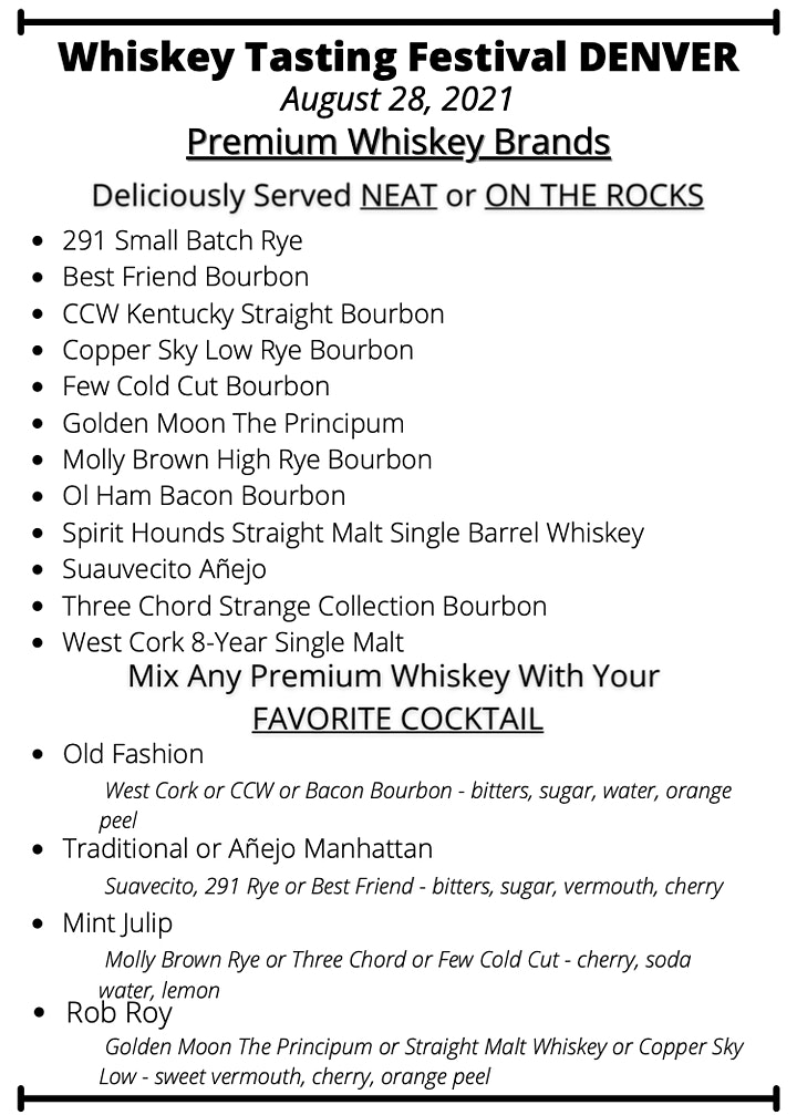 (Almost Sold Out) 2021 Denver  Summer Whiskey Tasting Festival (August 28) image