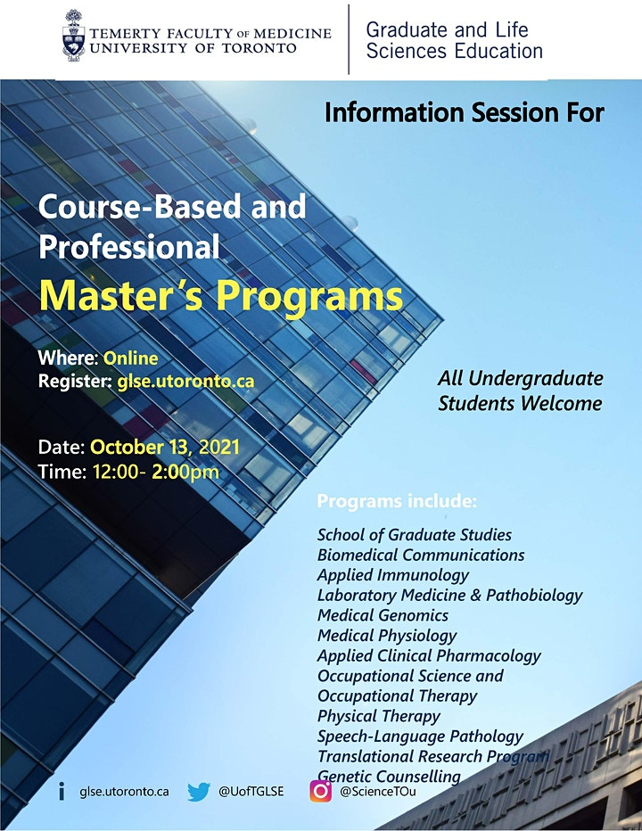 Information Session for Course-Based and Professional Master's Programs image