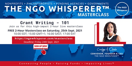 The NGO Whisperer™ Masterclass - Grant Writing - 101 tickets