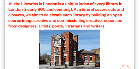 All the libraries in London : Book and Website launch tickets