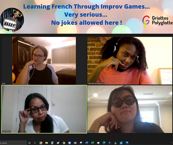 Practice French with Fun & Improv - Online - 1 or  4  or  8 Sessions Series image