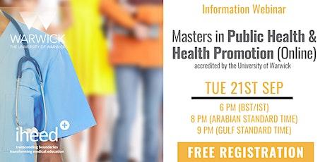 Masters in Public Health: University of Warwick - Info Webinar Sep 21 tickets