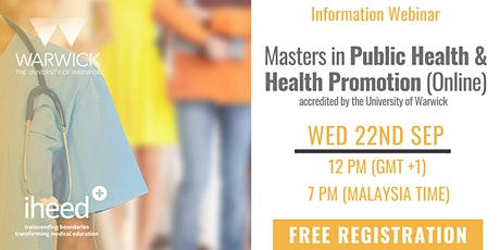 Masters in Public Health: University of Warwick - Info Webinar Sep 22 2021 tickets