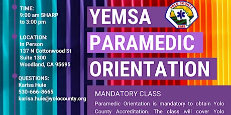 YEMSA: Paramedic Orientation for Accreditation - In Person tickets