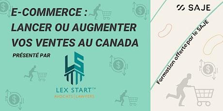 E-Commerce - Lancer/Augmenter vos ventes en ligne au Canada billets