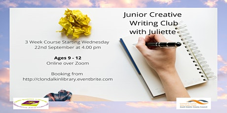 Online Junior Creative Writing Club with Juliette Saumande.  Ages 9 - 12. tickets