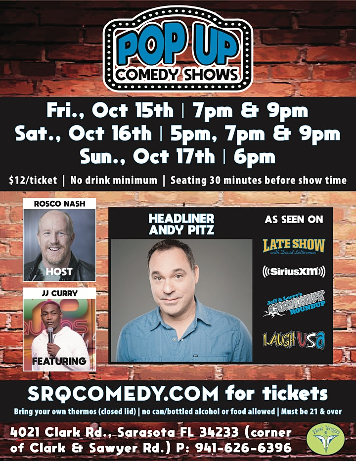 Pop Up Comedy Shows | October 15-17th image