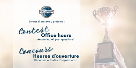 Contest Chair Officer Hours / Conseillers des concours Heures d'ouverture tickets