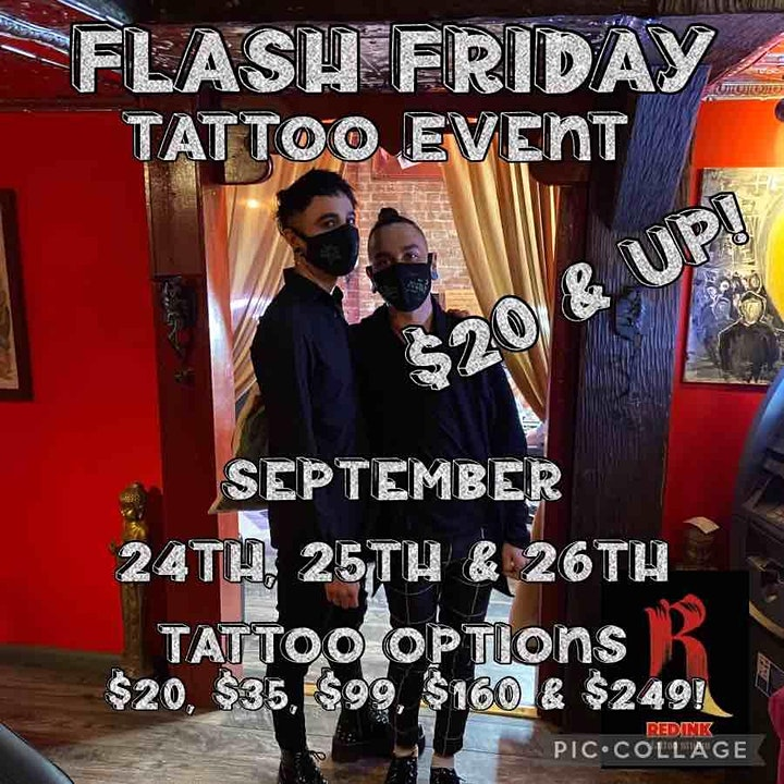 FLASH $20 & UP TATTOO EVENT SEPTEMBER 24 25 26TH 3 DAYS 5 OPTIONS image