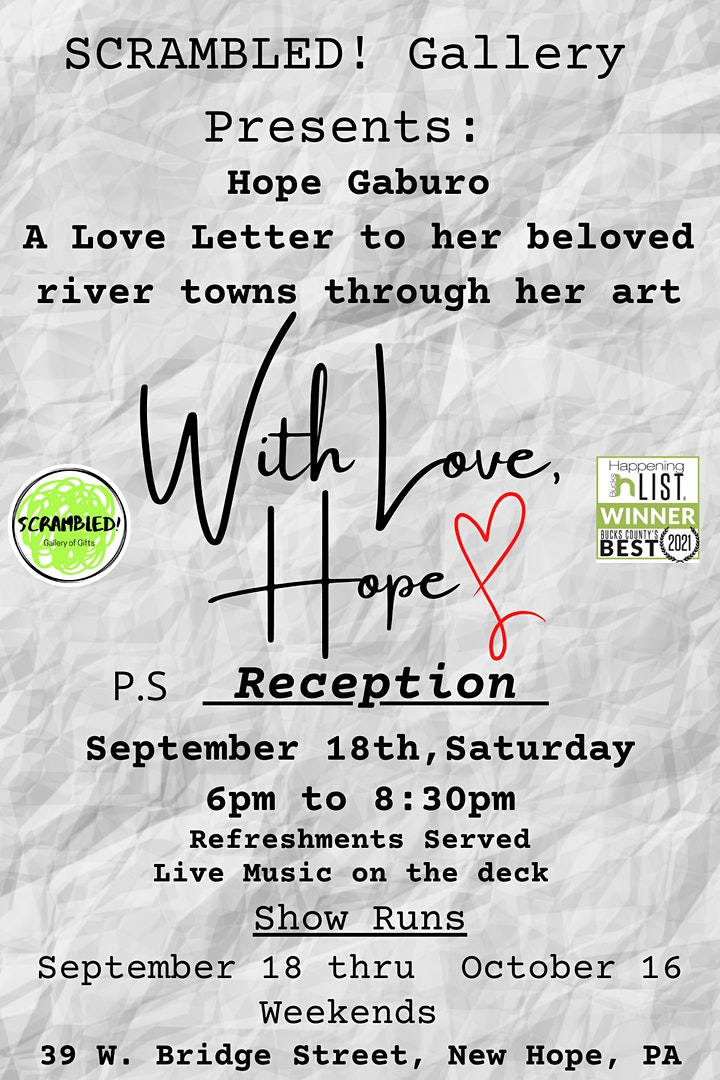 """With Love, Hope""  - Hope Gaburo's  Art Show Reception at Scrambled! image"