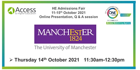 HE Admissions Fair: Presentation and Q&A -  University of Manchester tickets