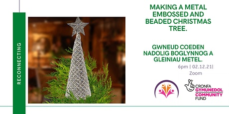 Embossed and Beaded Christmas tree/ Coeden Nadolig boglynnog a gleiniau tickets
