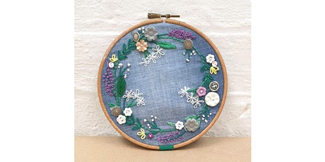 Antique button wreath embroidery tickets