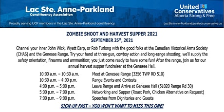 Zombie Shoot and Constituency Association Harvest Supper tickets